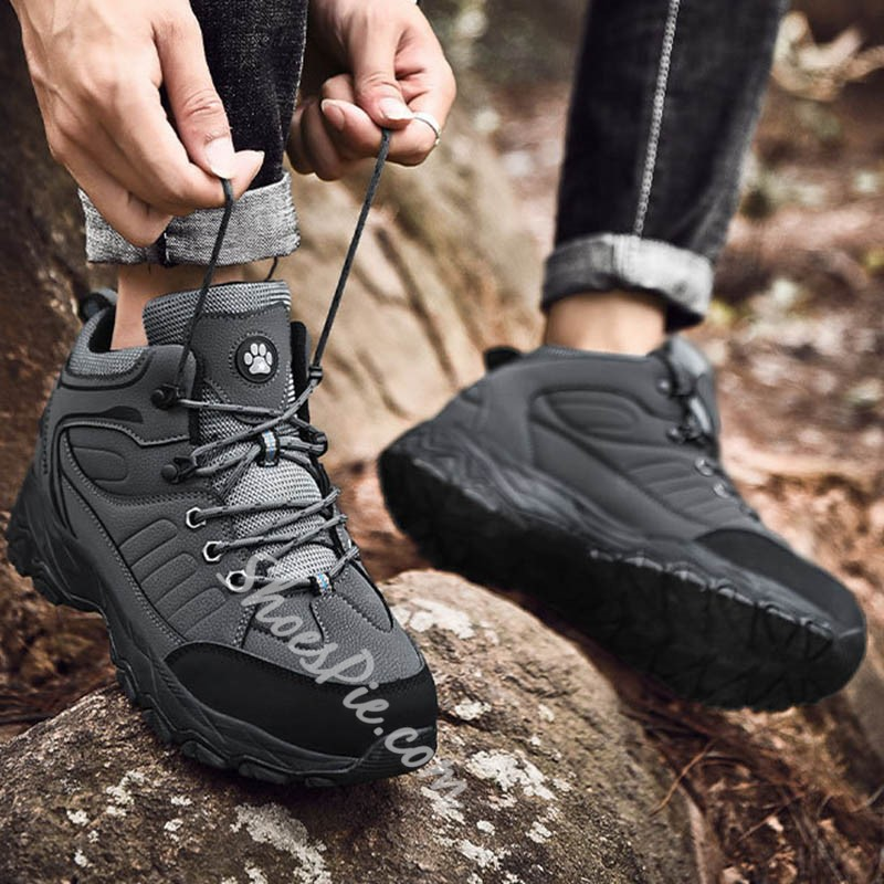 Shoespie Men's Sports Lace-Up Round Toe Outdoor Sneakers