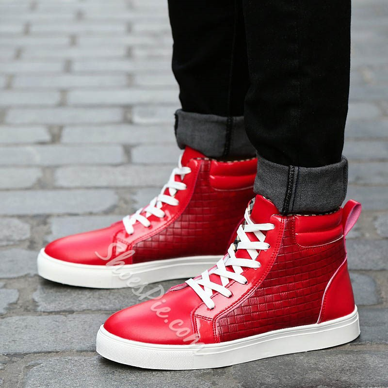 Shoespie Patchwork High-Cut Upper Lace-Up Round Toe Skate Shoes