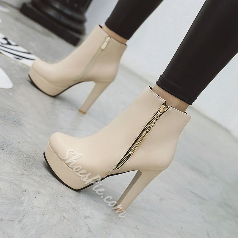 Shoespie Sexy Side Zipper Plain Round Toe Casual Boots
