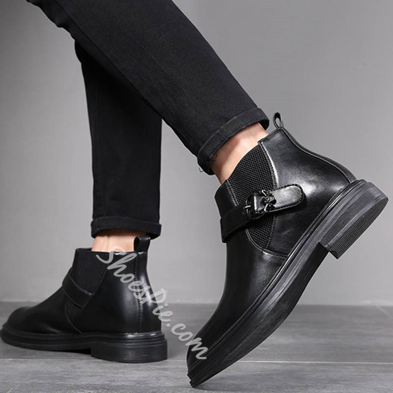 Shoespie Men's Pointed Toe Patchwork Slip-On PU Boots