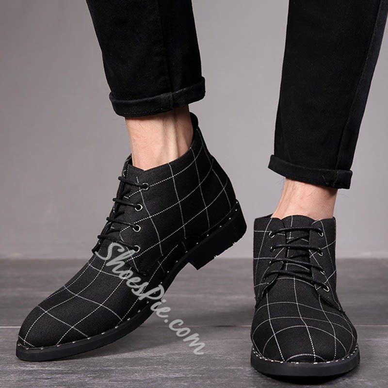 Shoespie Lace-Up Front Round Toe Plaid Mesh Boots