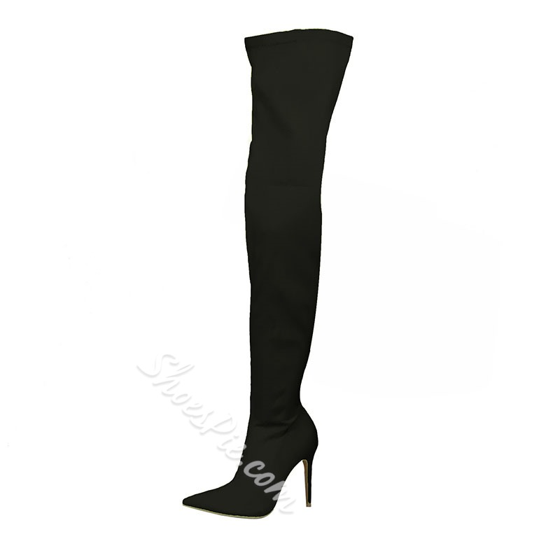 Shoespie Stylish Pointed Toe Side Zipper Stiletto Heel Plain Casual Boots