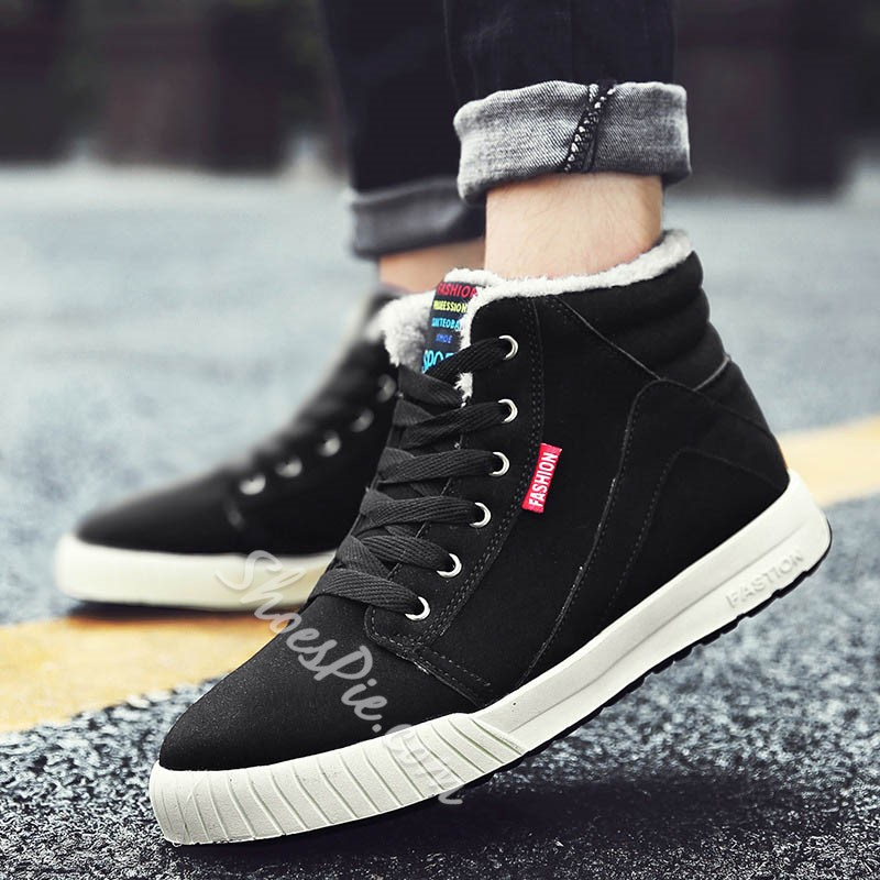 Shoespie Men's Lace-Up High-Cut Upper Color Block Round Toe Casual Skate Shoes