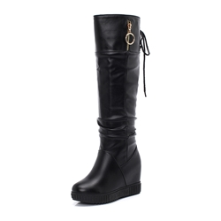Shoespie Stylish Side Zipper Plain Round Toe Thread Boots