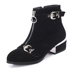 Shoespie Sexy Round Toe Suede Front Zipper Plain Casual Boots