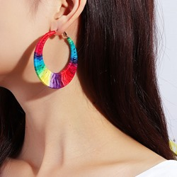 European Color Block Alloy WesternEarrings
