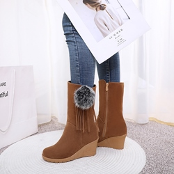 Shoespie Trendy Side Zipper Wedge Heel Round Toe Casual Boots