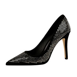 Shoespie Sexy Pointed Toe Stiletto Heel Sequin Low-Cut Upper Thin Shoes