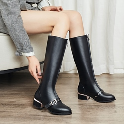 Shoespie Trendy Front Zipper Block Heel Pointed Toe Casual Boots
