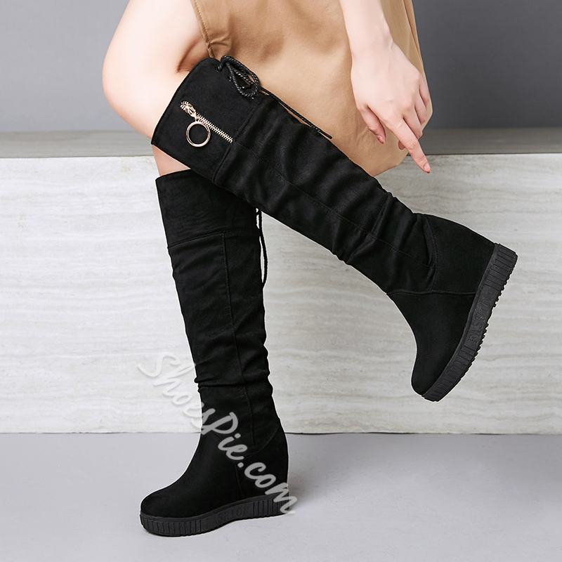 Shoespie Sexy Side Zipper Plain Round Toe Thread Boots