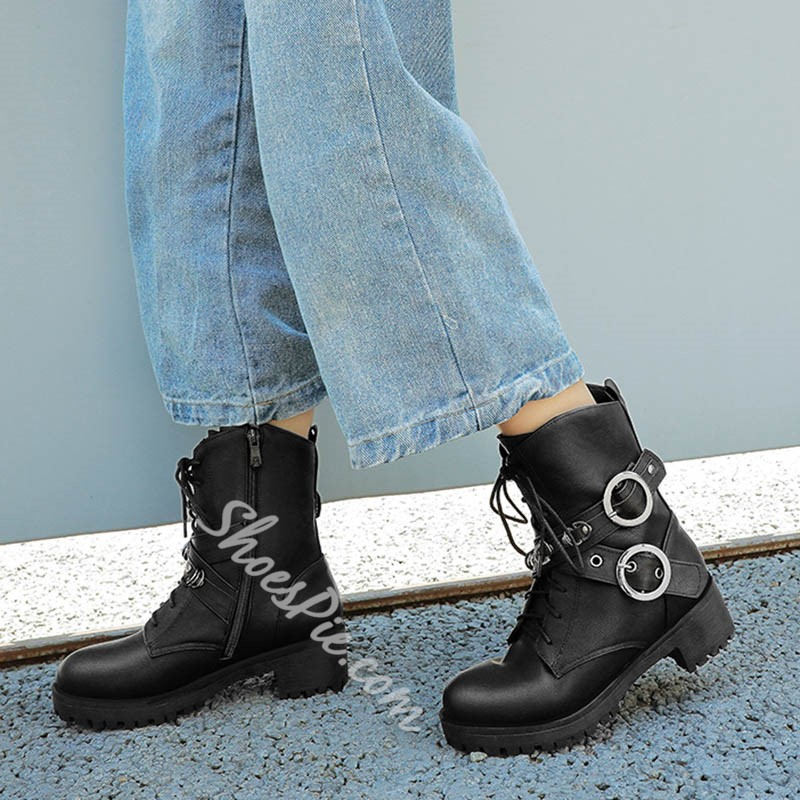Shoespie Trendy Plain Side Zipper Round Toe Cross Strap Casual Boots