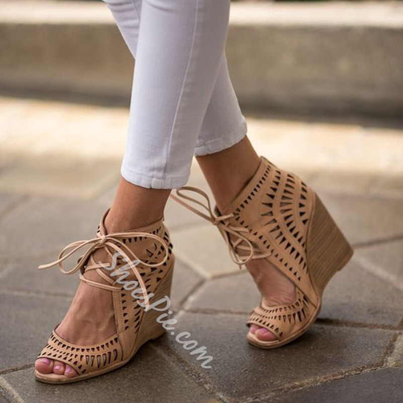 Shoespie Apricot Cut Out Wedge Heel Sandals