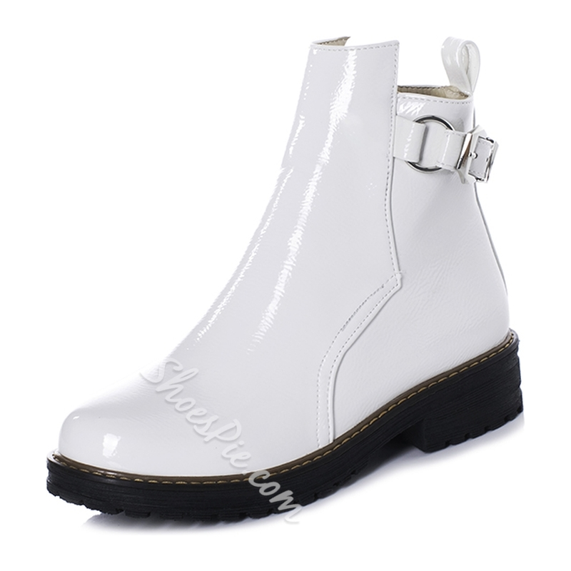 Shoespie Trendy Round Toe Side Zipper Plain Zipper Boots
