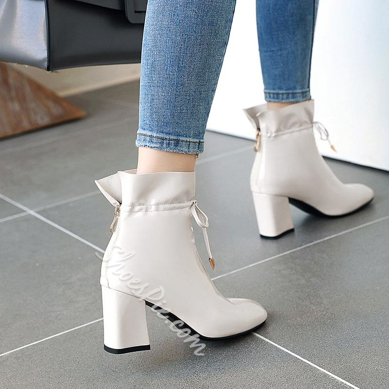 Shoespie Trendy Plain Lace-Up Front Pointed Toe Lace-Up Boots