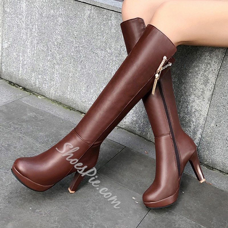 Shoespie Sexy Side Zipper Plain Round Toe Zipper Boots