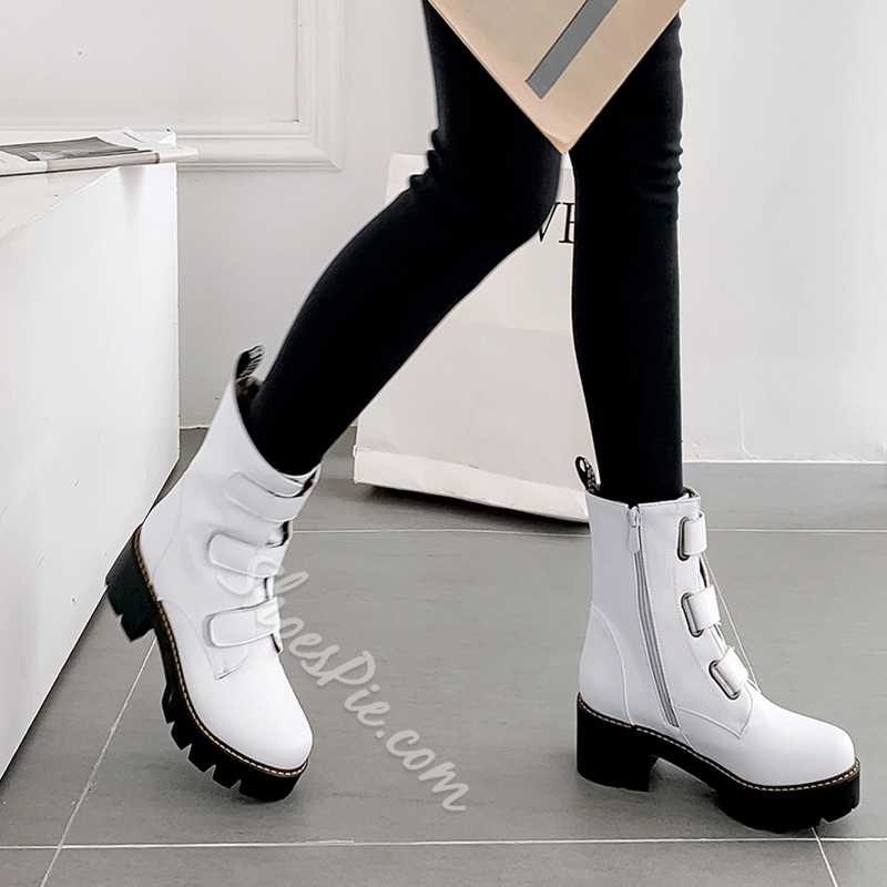 Shoespie Trendy Plain Side Zipper Round Toe Casual Boots