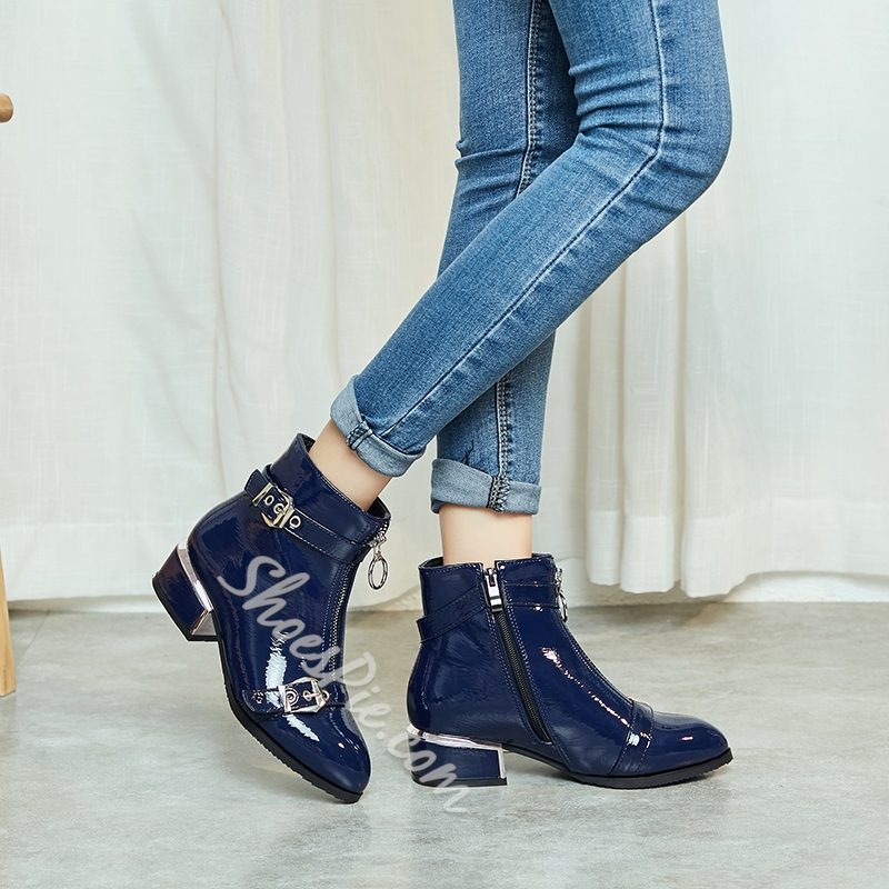 Shoespie Sexy PU Front Zipper Plain Round Toe Zipper Boots