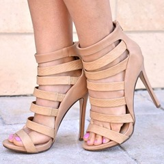 Shoespie Stylish Heel Covering Stiletto Heel Zipper Hollow Sandals