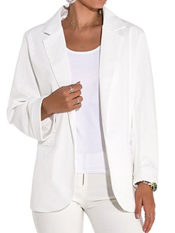 Plain Long Sleeve Spring Women's Casual Blazer
