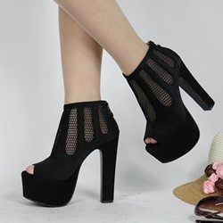 Shoespie Stylish Zipper Peep Toe Chunky Heel Ultra-High Heel Thin Shoes