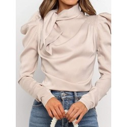 Plain Turtleneck Standard Women's Blouse