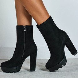 Shoespie Trendy Side Zipper Chunky Heel Round Toe Thread Boots