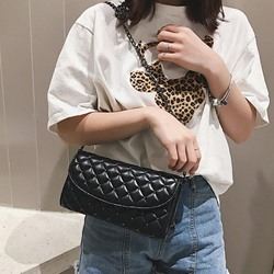 Shoespie Chain PU Plaid Rectangle Crossbody Bags