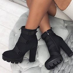 Shoespie Trendy Plain Round Toe Side Zipper Western Boots