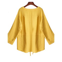 Plain Plus Size V-Neck Long Sleeve Women's Blouse