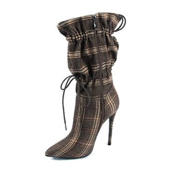 Shoespie Stylish Pointed Toe Elastic Plaid Western Boots