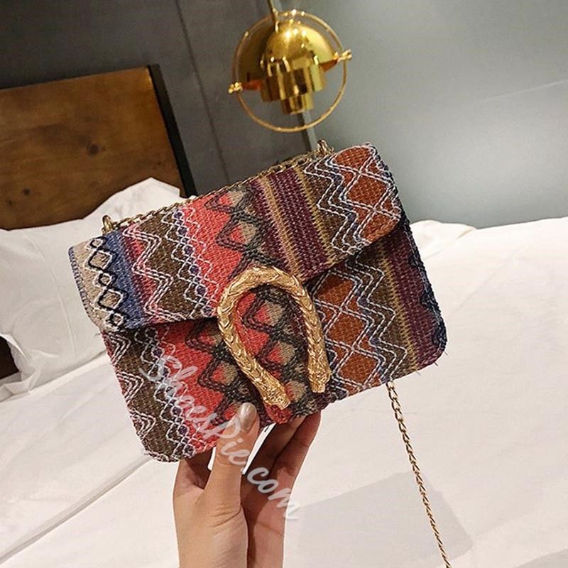 Shoespie Stripe Embroidery Rectangle Crossbody Bags