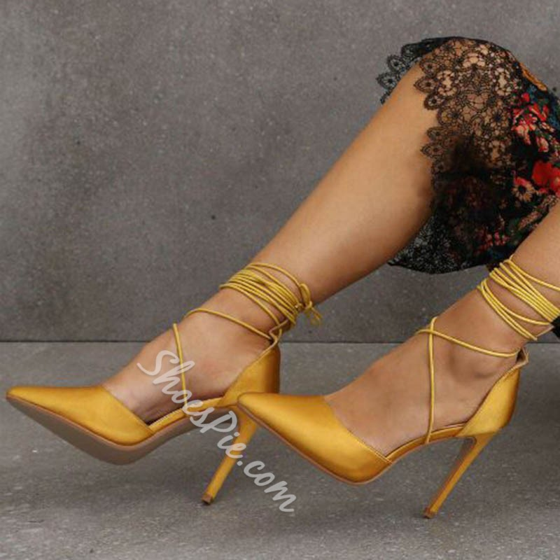Shoespie Stylish Pointed Toe Lace-Up Stiletto Heel Plain Thin Shoes