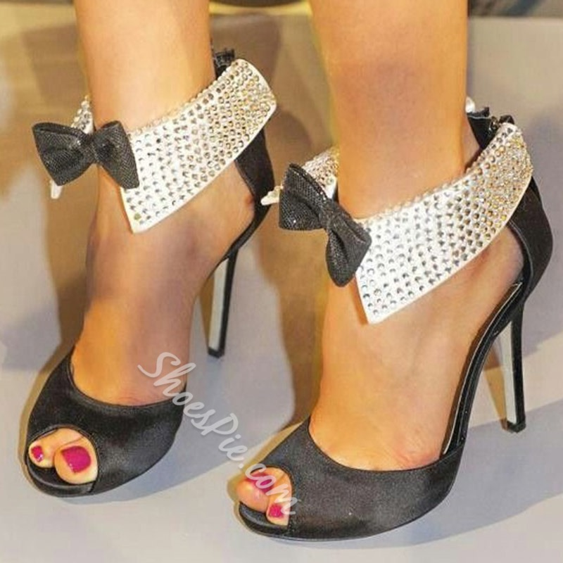 Shoespie Stylish Stiletto Heel Peep Toe Zipper Casual Thin Shoes