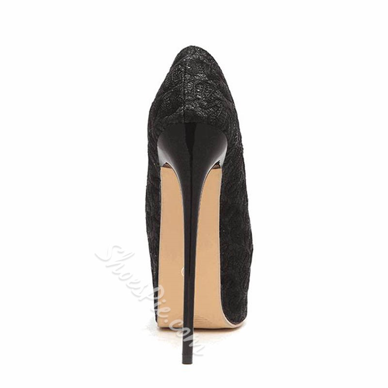 Shoespie Stylish Thread Peep Toe Stiletto Heel Casual Thin Shoes