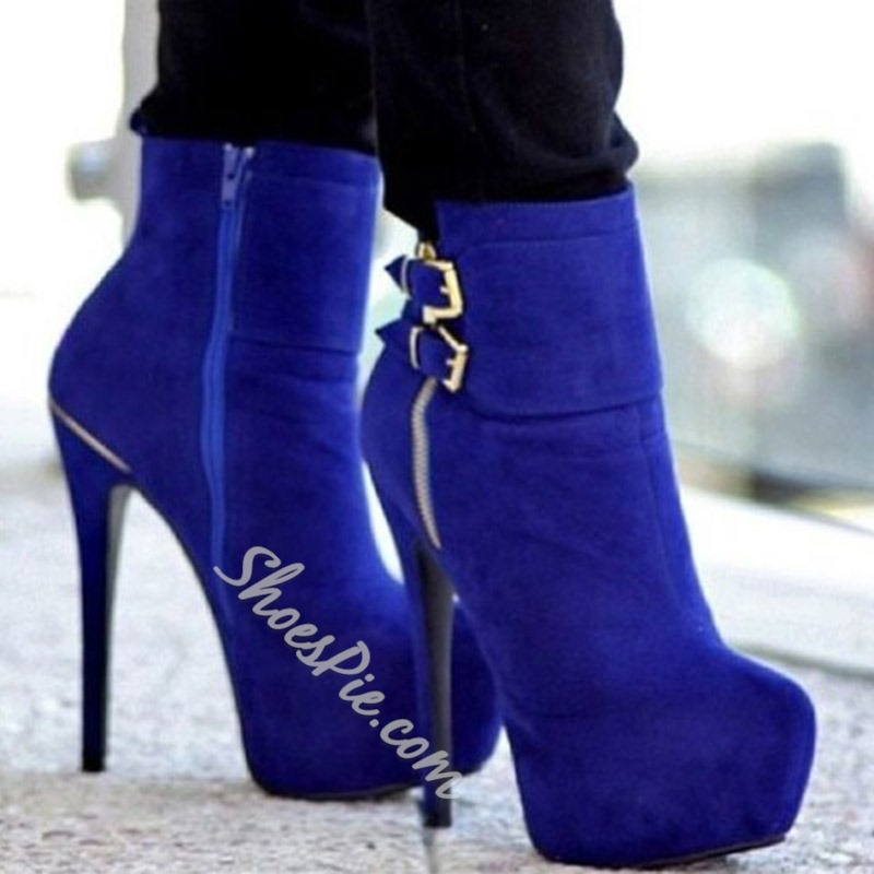 Shoespie Sexy Side Zipper Round Toe Stiletto Heel Zipper Boots