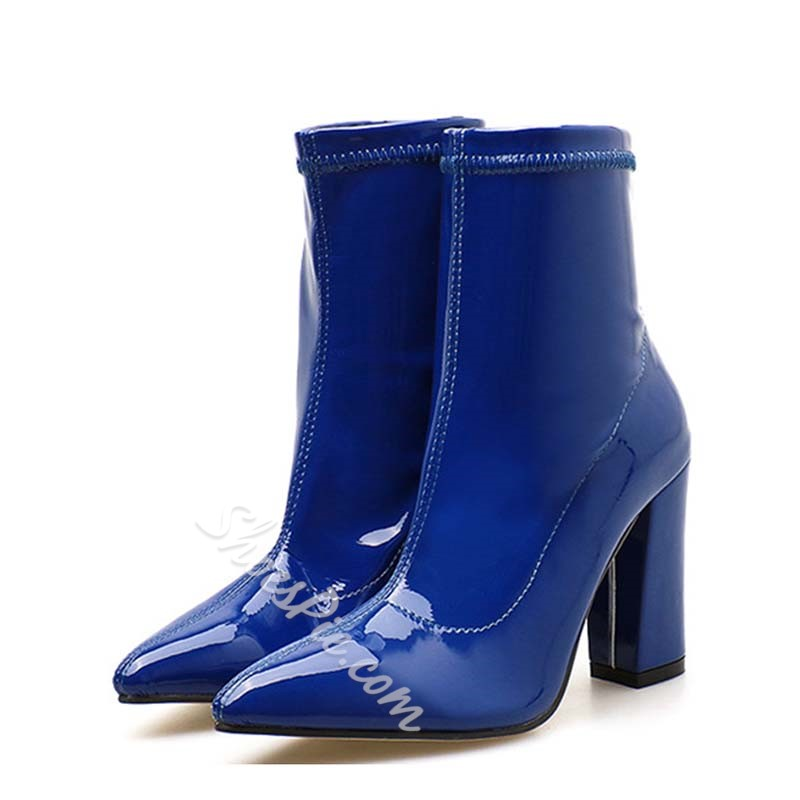 Shoespie Stylish Chunky Heel Plain Pointed Toe Short Floss Boots
