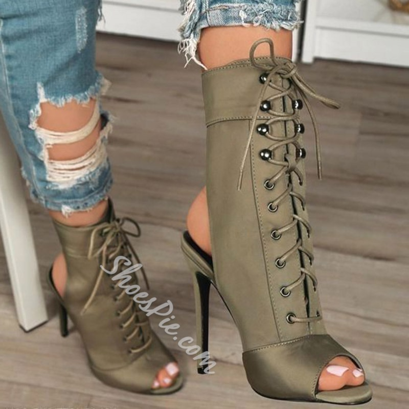 Shoespie Stylish Lace-Up Front Stiletto Heel Peep Toe Thread Boots