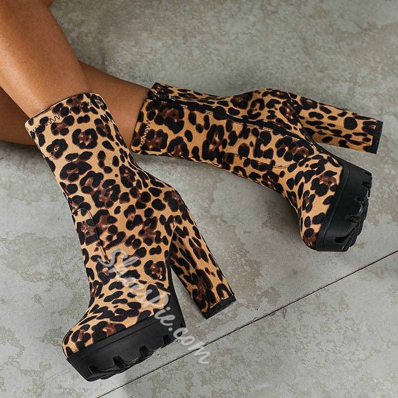 Shoespie Stylish Round Toe Chunky Heel Leopard Casual Boots
