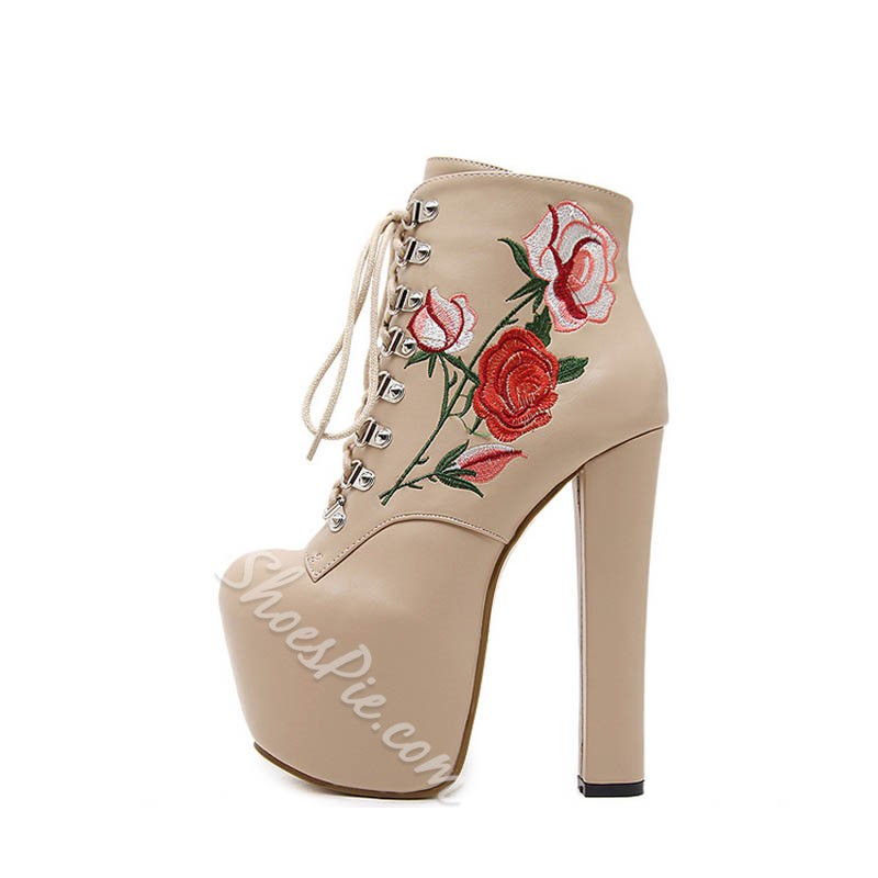 Shoespie Sexy Chunky Heel Floral Side Zipper Embroidery Boots