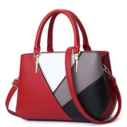 Shoespie PU Color Block Rectangle Tote Bags
