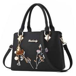 Shoespie PU Floral Thread Rectangle Tote Bags