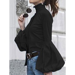 Plain Stand Collar Lantern Sleeve Mid-Length Women's Blouse