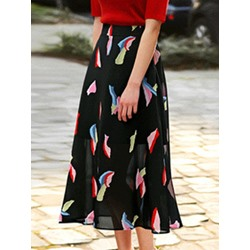 Plain Print Mid-Calf Women's Skirt