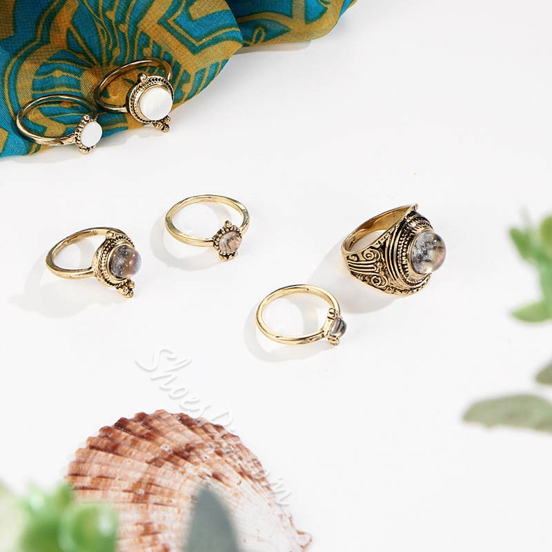 Gemmed Vintage Alloy Party Rings
