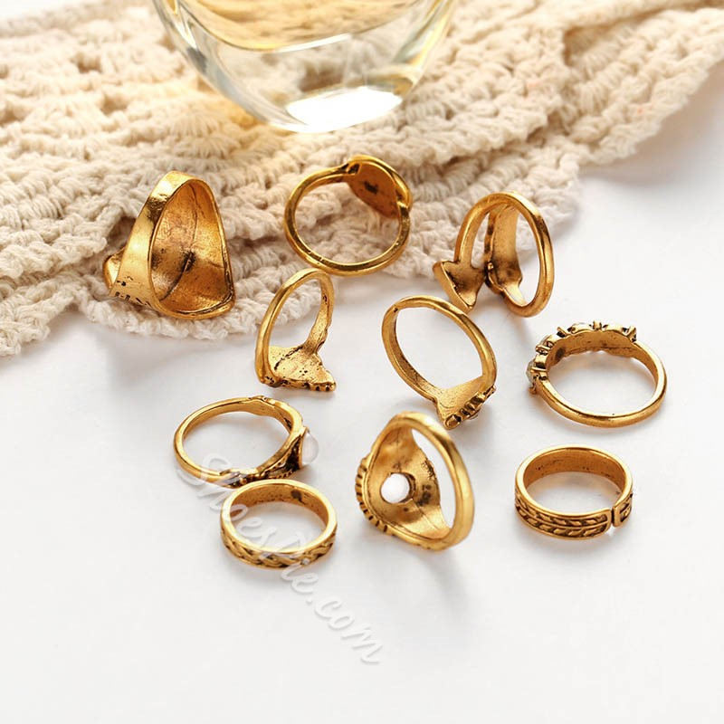Alloy Vintage Diamante Birthday Rings