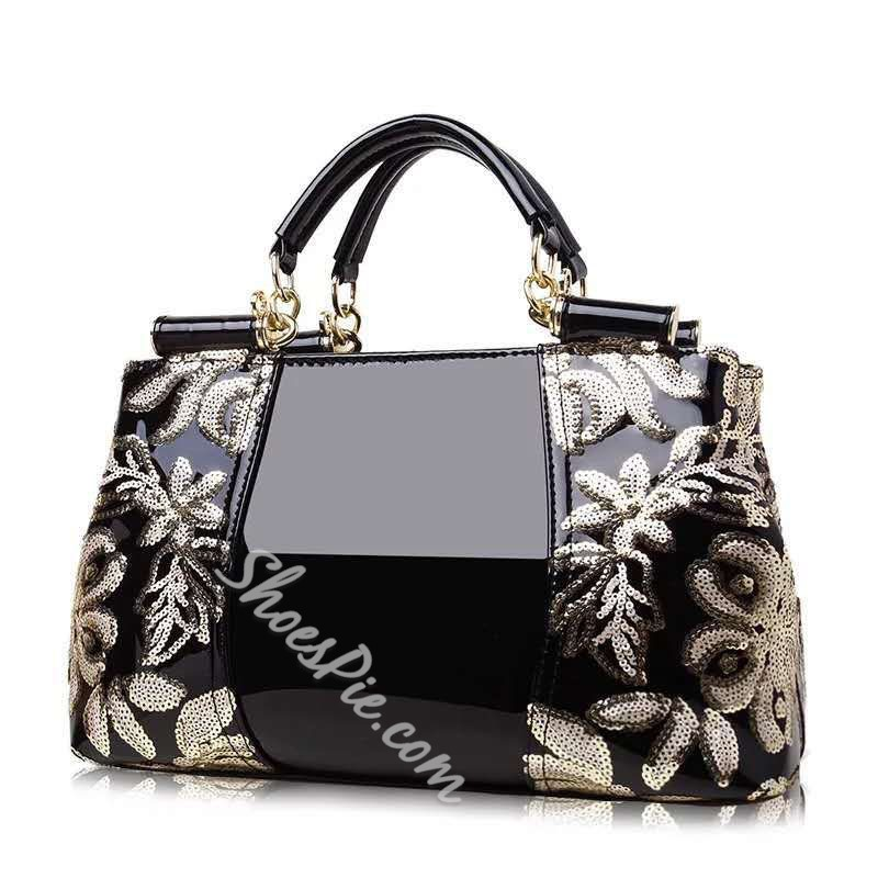 Shoespie Thread Floral PU Rectangle Tote Bags