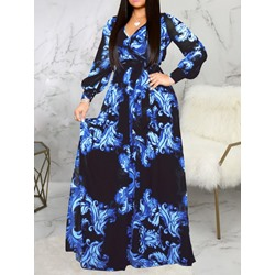 V-Neck Floor-Length Long Sleeve Women's Maxi Dress