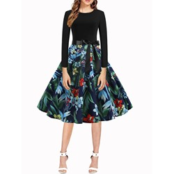 Print Mid-Calf Round Neck Women's Dress