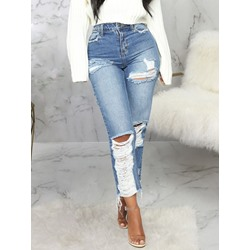 Hole High Plain Waist Slim Women's Jeans