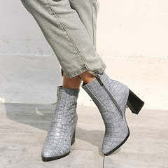 Shoespie Sexy Side Zipper Pointed Toe Chunky Heel Stone Boots
